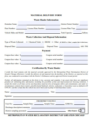 Material Delivery Form