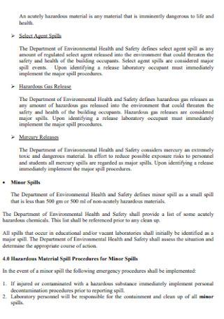 Materials Emergency Response Plan