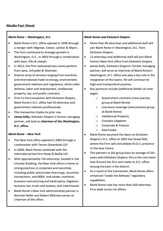 Media Fact Sheet Template