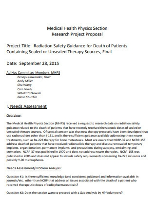 Medical Health Research Project Proposal