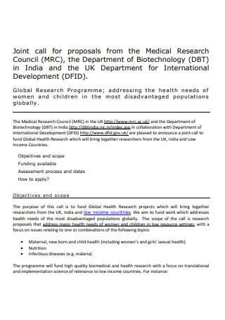 Medical Research Council Proposal