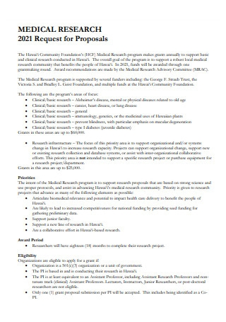 Medical Research Request For Proposal