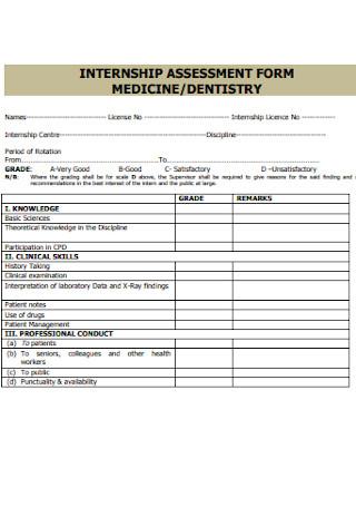 Medicine Internship Assessment Form