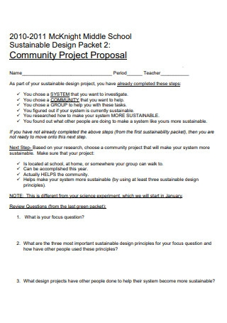 Middle School Community Project Proposal