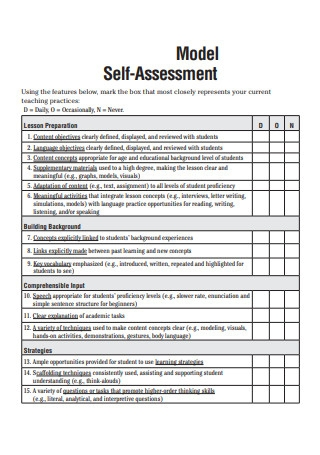 Model Self Assessment