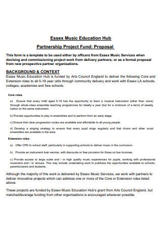Music Education Partnership Project Fund Proposal