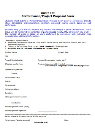 Music Performance Project Proposal Form