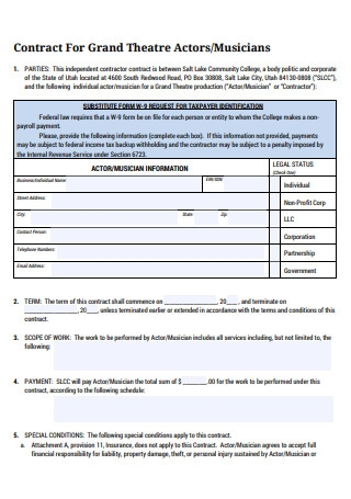 Musician Contract For Theatre Actors