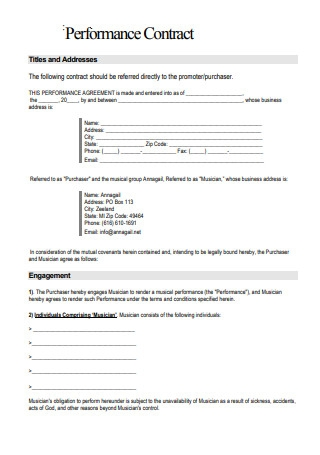 Musician Performance Contract