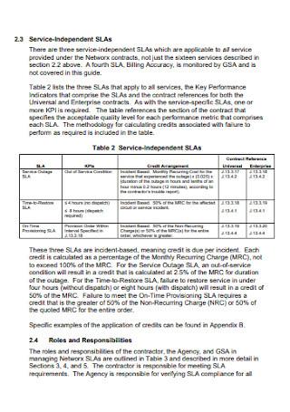 Networx Service Level Agreement