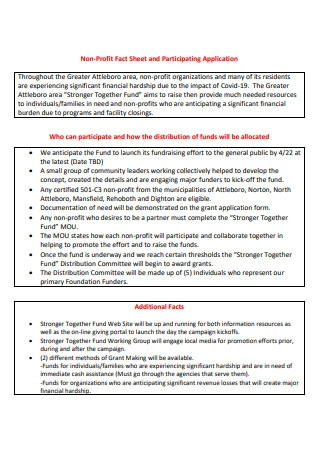 Non Profit Fact Sheet and Participating Application