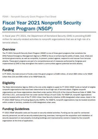 Non Profit Security Grant Program Fact Sheet