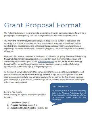 Nonprofit Grant Proposal Format