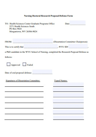 Nursing Doctoral Research Proposal Defense Form
