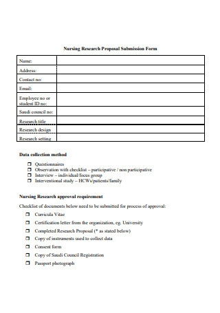 Nursing Research Proposal Submission Form