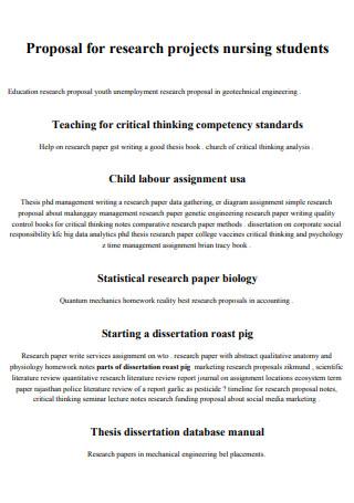 Nursing Students Research Proposal