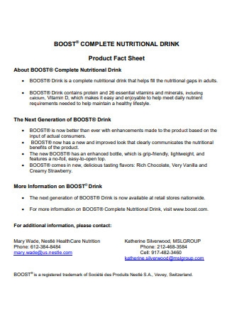 Nutritional Drink Product Fact Sheet