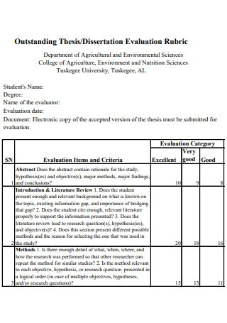 Outstanding Thesis Dissertation Evaluation