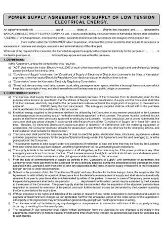 POwer Supply Agreement