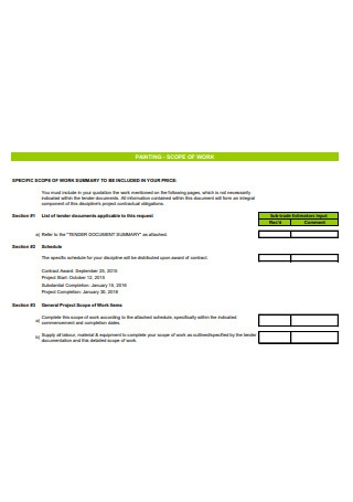 Painting Scope of Work Template