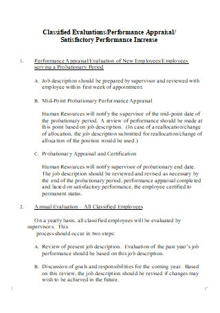 Performance Appraisal Evaluation in DOC