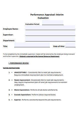 Performance Appraisal Interim Evaluation