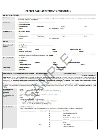 Personal Credit Sale Agreement
