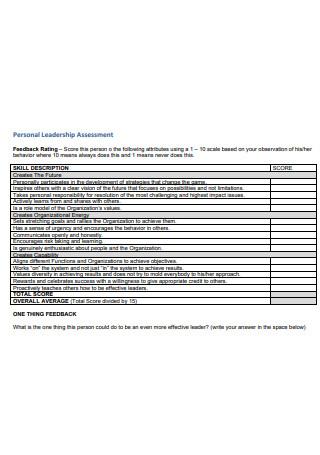 Personal Leadership Assessment