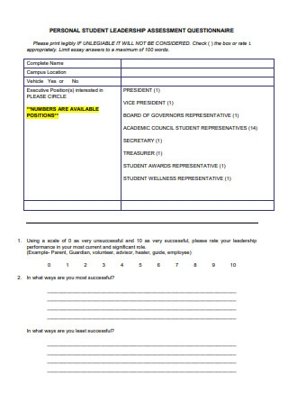 Personal Student Leadership Assessment Questionnaire