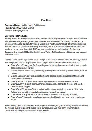 Pet Company Fact Sheet