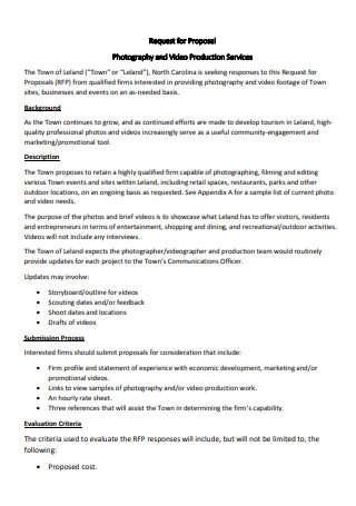 Photography and Video Production Services Proposal