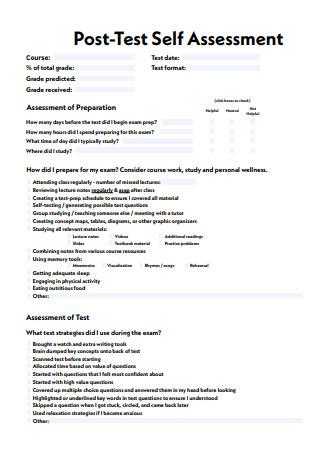 Post Test Self Assessment