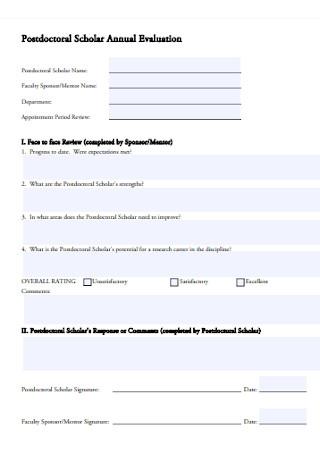 Postdoctoral Scholar Annual Evaluation Form