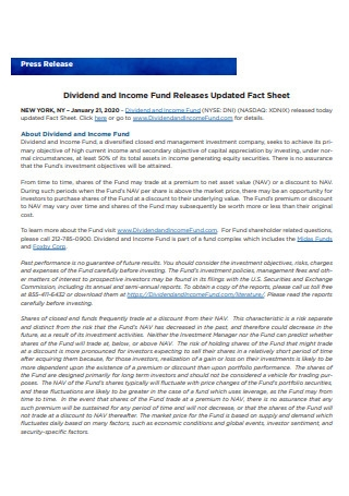 Press Release Dividend and Income Fund Release Fact Sheet