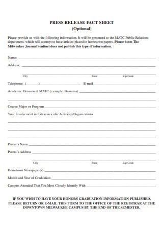 Press Release Fact Sheet Template