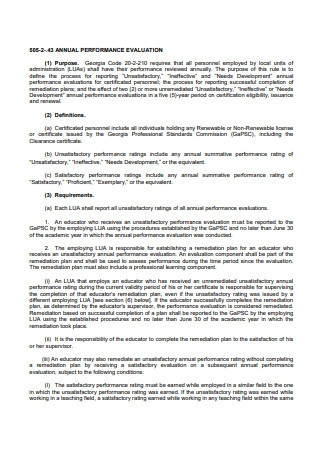 Printable Annual Performance Evaluation