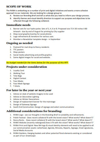 Printable Branding Scope of Work