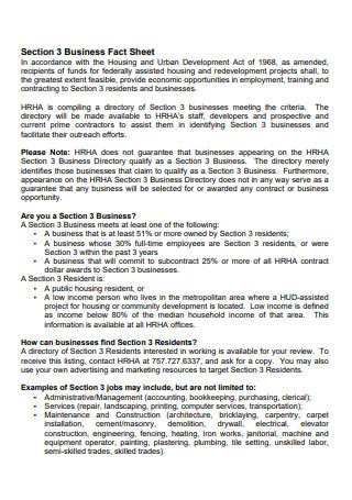 Printable Business Fact Sheet