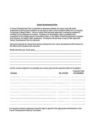 Printable Career Development Plan