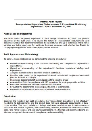 Printable Internal Audit Report