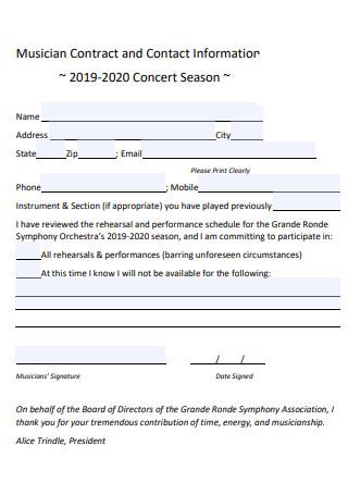 Printable Musician Contract
