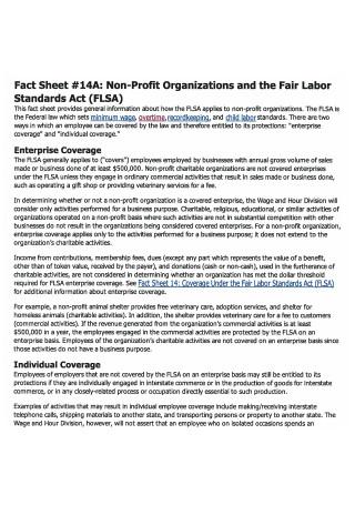 Printable Non Profit Fact Sheet