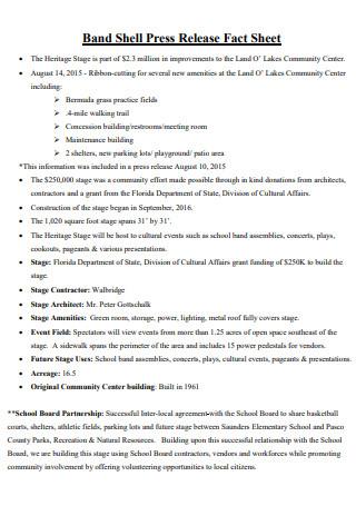 Printable Press Release Fact Sheet