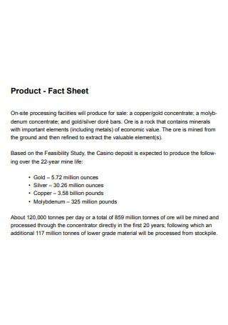 Printable Product Fact Sheet