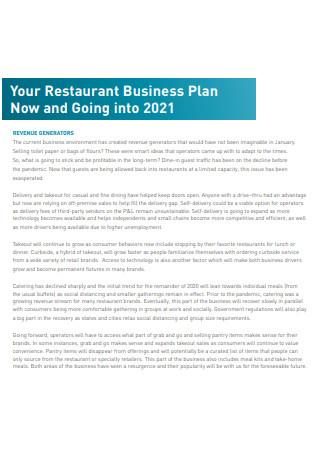 Printable Restaurant Business Plan