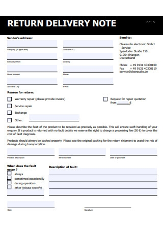 Printable Return Delivery Note