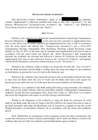 Printable Revolving Credit Agreement