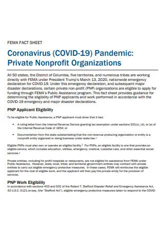 Private Non Profit Organization Fact Sheet