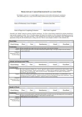 Probationary Career Fire Fighter Evaluation Form