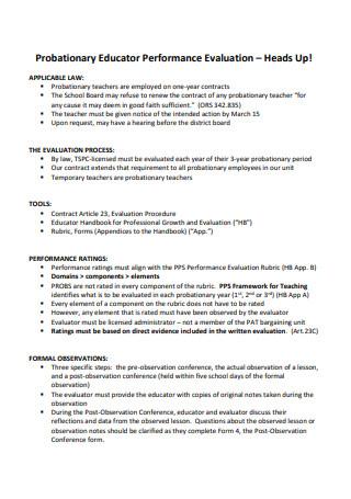 Probationary Educator Performance Evaluation